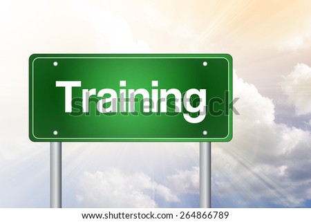 Training Green Road Sign, Business Concept - stock photo