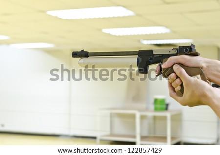 training gun aim to target - stock photo