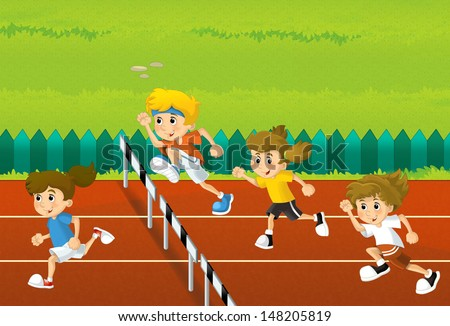 Training - illustration for the children - stock photo