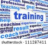 Training message conceptual design. learning poster design - stock photo