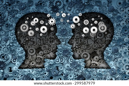 Training neuroscience development concept as a group of cog wheels and gears shaped as human heads with information transfer as a technology brain symbol or psychology exchange success. - stock photo