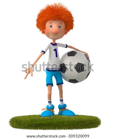 training of the athlete for the World Cup/    3d boy football player