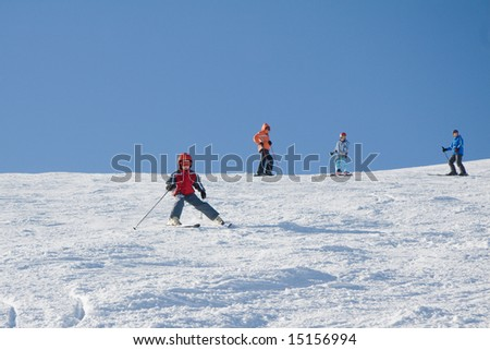 Training of young skiers on the slope of mountain Stig in ukrainian Carpathian - stock photo