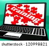 Training Puzzle On Notebook Shows Webinars And Online Lessons - stock photo