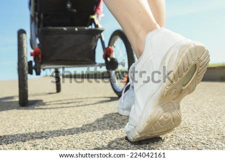 Training, shoes, running, jogging, road - stock photo