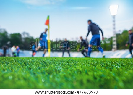 Training soccer players on football stadium. Green grass at foreground. Defocused. In the lens shines backlight soffit.