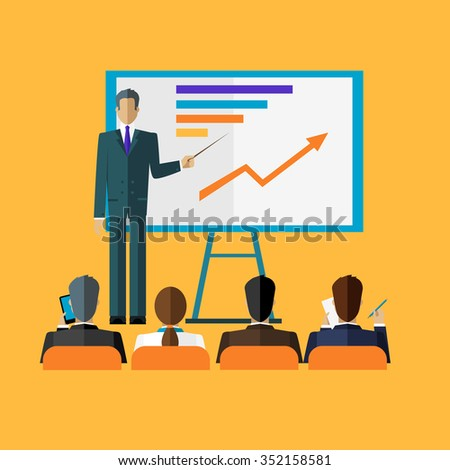 Training staff briefing presentation. Staff meeting, staffing and corporate training, employee training, mentor and people, business seminar, meeting group illustration. Raster version - stock photo