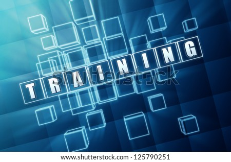 training text in 3d blue glass cubes, business concept