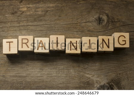 Training text on a wooden background - stock photo