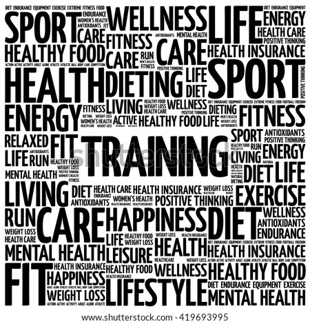 TRAINING word cloud background, health concept - stock photo