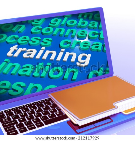 Training Word Cloud Laptop Meaning Education Development And Learning - stock photo