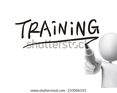 training word written by 3d man over transparent board - stock photo