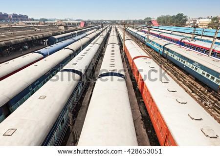 Trains at the New Delhi railway station, New Delhi in India - stock photo