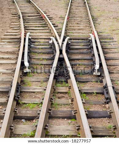 trains go separate ways - stock photo
