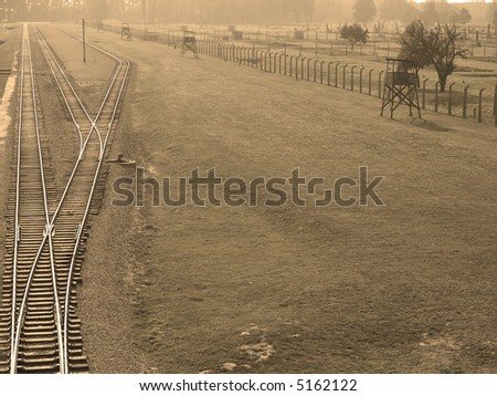 Traintracks in Auschwitz II-Birkenau concentration camp in Poland