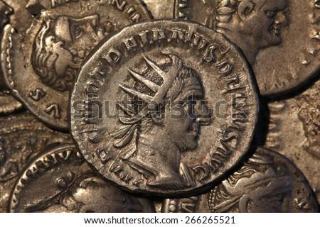 Trajan Decius Antoninianus Rome 249-251, Roman coins - stock photo
