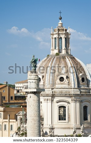 Trajan's Column and Santa Maria di Loreto church, Rome, Italy