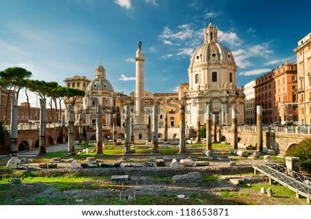 Trajan's Column in the  forum of Trajan in Rome, Italy - stock photo