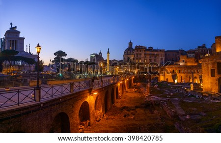 Trajans Column, Basilica Ulpia and Church of Most Holy Name of Mary at Trajan Forum in Rome, Italy. - stock photo