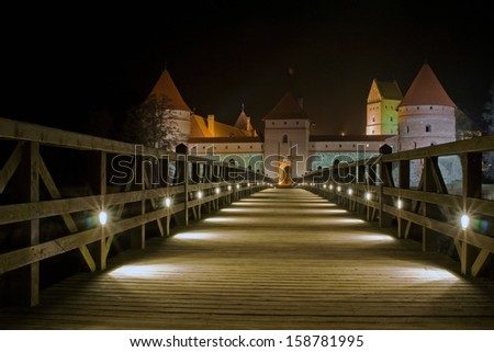 Trakai castle (Traku pilis) in Lithuania near Vilnius at night - stock photo