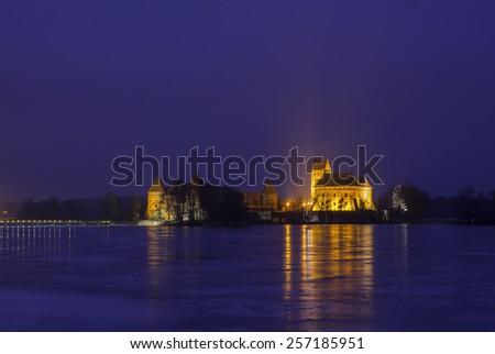 Trakai Castle winter night, Lithuania - stock photo