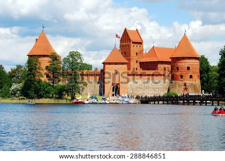 TRAKAI, LITHUANIA - MAY 31: Galves lake,Trakai old red bricks castle view on May 31, 2015, Trakai, Lithuania.