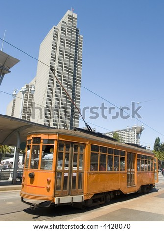 Tram in San Francisco California - stock photo
