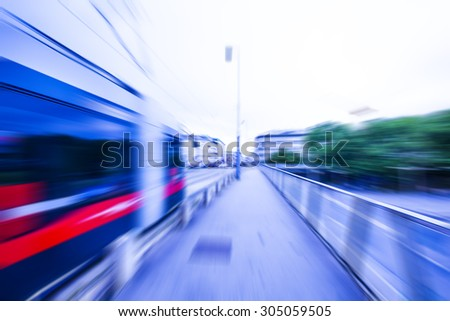 tram in the city,blurred speed background