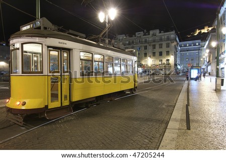tram in the historic center of Lisbon, Portugal - stock photo
