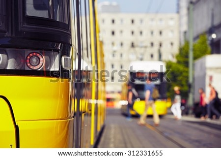 Tram in the station - Berlin, Germany - stock photo