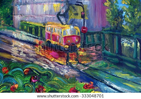 Tram in the street after rain reflected in puddles. Oil painting. - stock photo