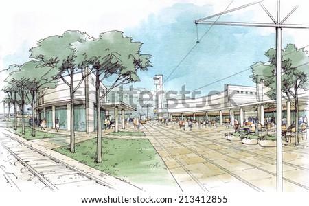 tram line - stock photo