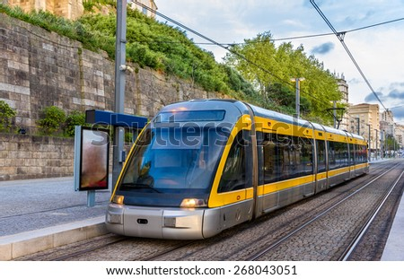 Tram of the Porto Metro system - Portugal - stock photo