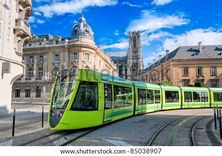 Tram on the streets of Reims, France - stock photo