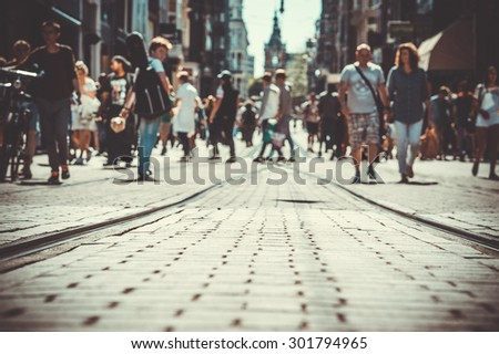tram rails - stock photo