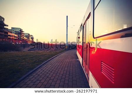Tram station at the sunset, Prague, Czech Republic - stock photo