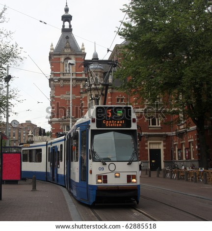 Tram Stop in Downtown Amsterdam