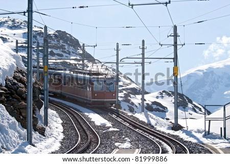 Tram to Matterhorn peak, Zermatt Switzerland - stock photo