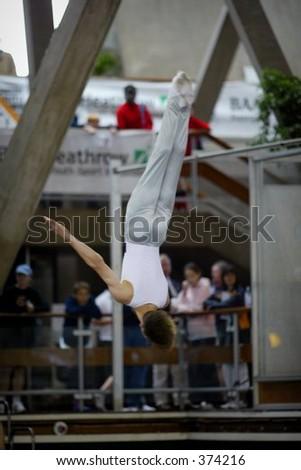 trampolining gymnastics - stock photo