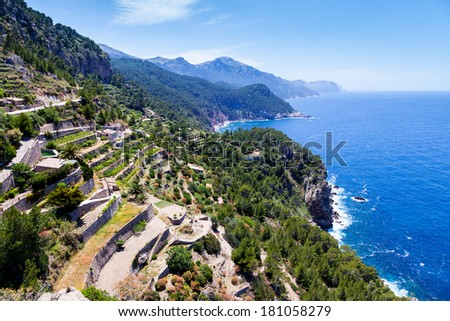 Tramuntana Mountain Range in Majorca North Coast from Verger Viewpoint - stock photo