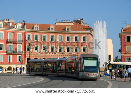 Tramway at the Place Masséna in Nice, France