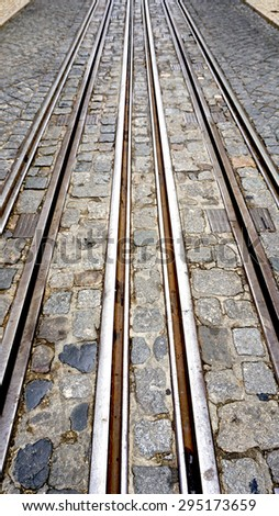 Tramway in lisbon Portugal Vertical perspective
