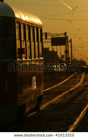 Tramway in sunset