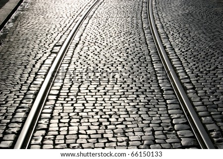 Tramway rails with cobblestone in Kassel, Germany - stock photo