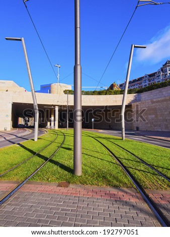 Tramway Tracks in Bilbao, Biscay, Basque Country, Spain