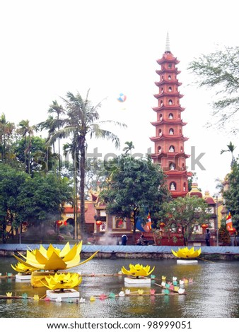 Tran Quoc Pagoda - Hanoi, Vietnam - stock photo