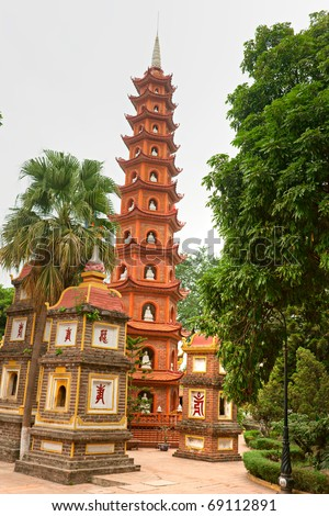 Tran Quoc Pagoda in Hanoi, Vietnam - stock photo