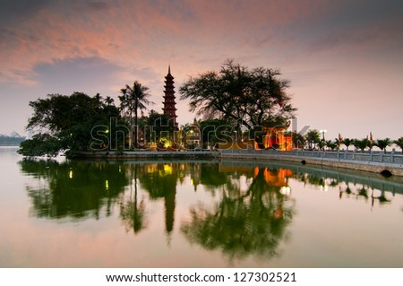 Tran Quoc pagoda in sunset - stock photo