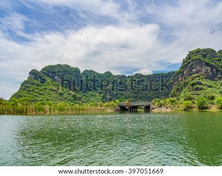 Trang An Landscape Complex, Vietnam - A UNESCO World Heritage Site - stock photo