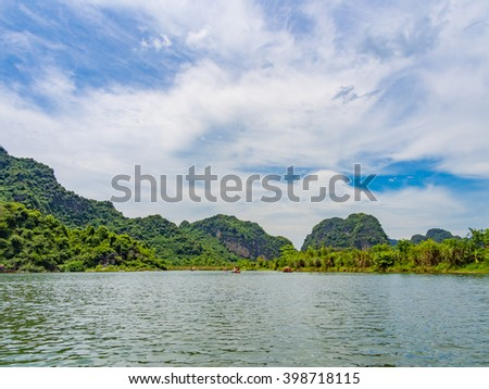 Trang An Scenic Landscape Complex in Ninh Binh Province, Vietnam - A UNESCO World Heritage Site - stock photo